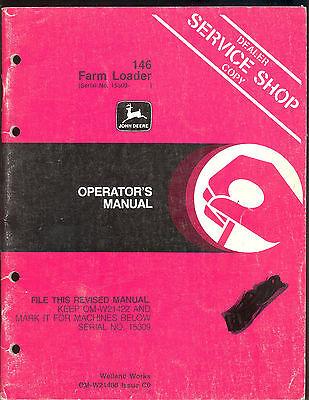 John Deere Operators Manual For 146 Farm Loader Sn 15309 And Up