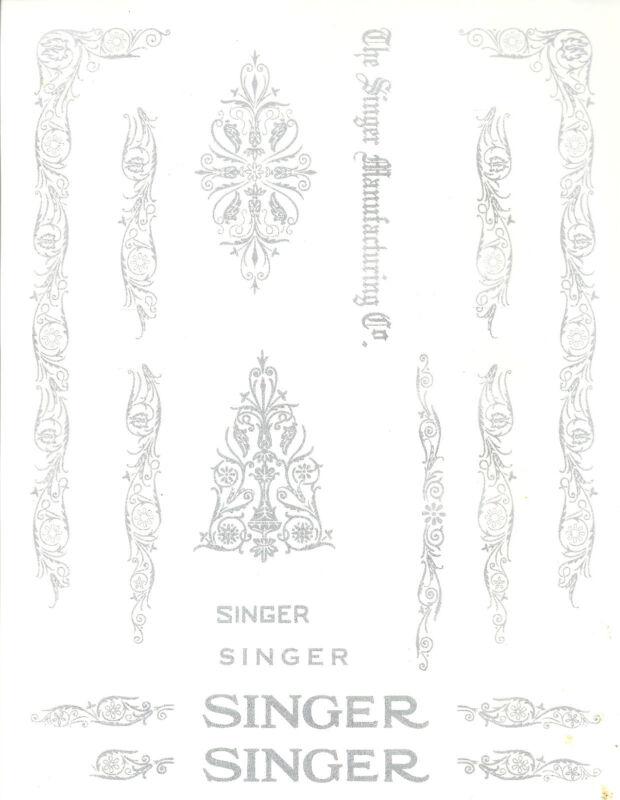 Singer Model 66/99 Filigree  Sewing Machine Restoration Decals Silver