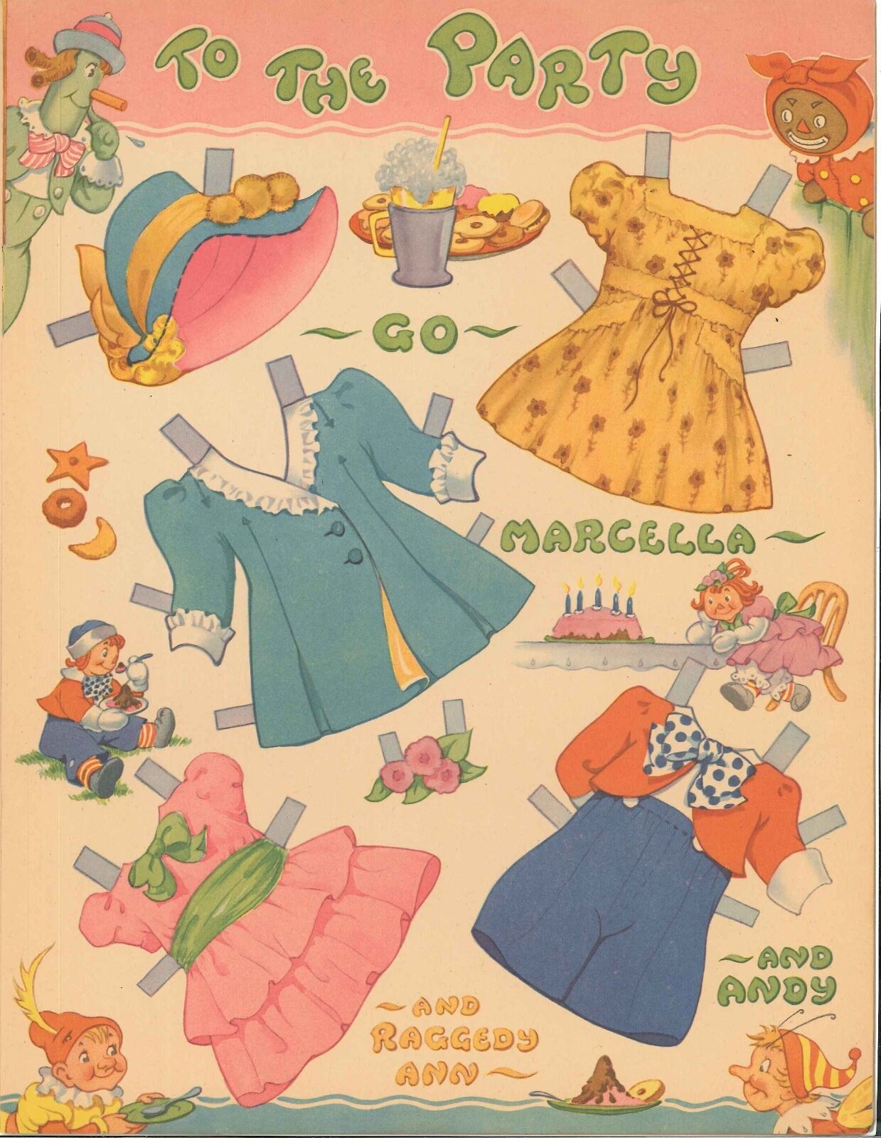VINTAGE UNCUT 1942 RAGGEDY ANN PAPER DOLLS ~SAALFIELD~ORG SZ~LASER REPRODUCTION