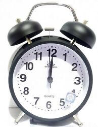 Vintage Black 4 Inch Display Metal Twin Bell Alarm Table Clock With Light-8820
