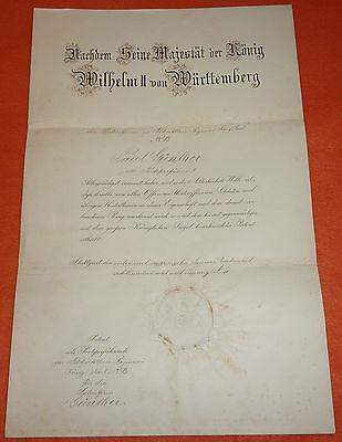 Feldartillerie-Regiment K�nig Karl 1.W�rttembergisches Nr.13 Urkunde Wilhelm II.