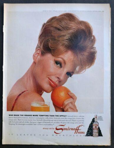1964 SMIRNOFF Vodka Julie London holding orange Vintage Print Ad