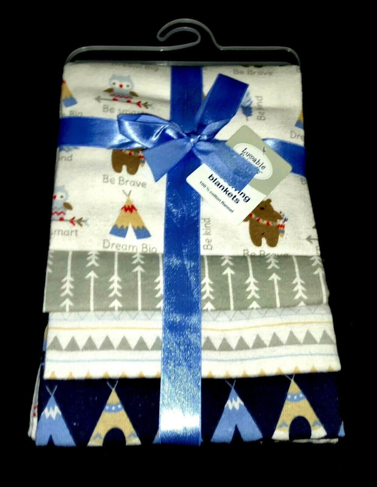 "NEW!  Baby Boys 4 pk ""Luvable Friends"" RECEIVING BLANKETS  2"