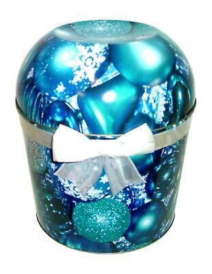 Christmas Popcorn Tin with 2 Gallons Blue Ornament Tin Caramel Cheddar Mix 2 Gallon Caramel Popcorn