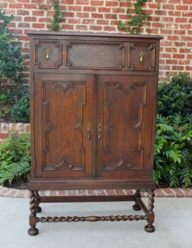 Tall Antique English Oak Barley Twist Jacobean Chest of Drawers  Cabinet
