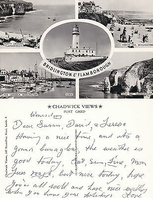 1960's MULTI VIEWS OF BRIDLINGTON & FLAMBOROUGH YORKSHIRE UNPOSTED RP POSTCARD