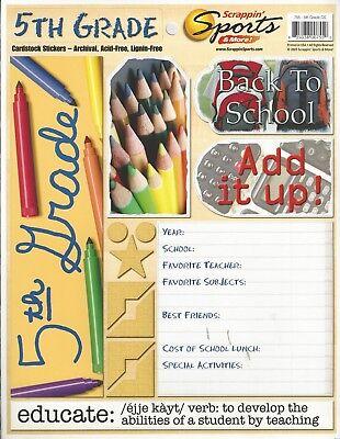 ssm - 5th Grade School Cardstock Scrapbooking Stickers