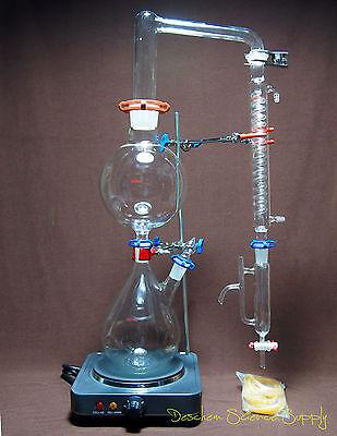 Essential Oil Steam Distillation Kit,Lab Apparatus,W/Hot Stove,Graham Condenser