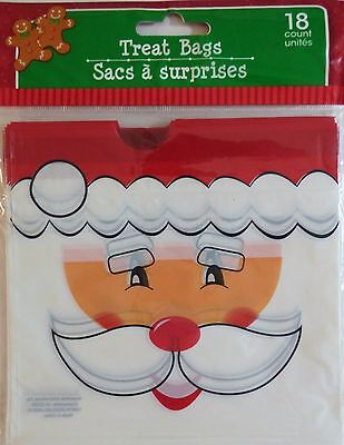 New CHRISTMAS CELLO PARTY GIFT BAGS 18 Count TREAT BAGS with Drawstring ~ Santa