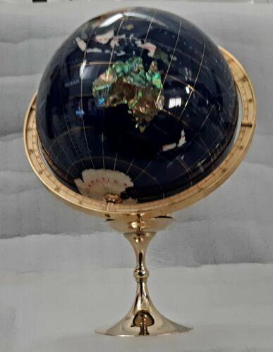 """Inlaid Lapiz Globe w/semi Precious Gems on Brass stand, 9"""" diameter, 10 1/2"""""""