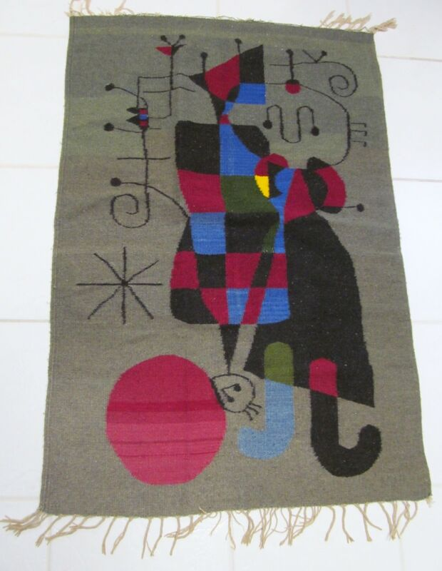 Joan Miro Inspired Mid-Century Tapestry Rug Weaving Vintage Estate
