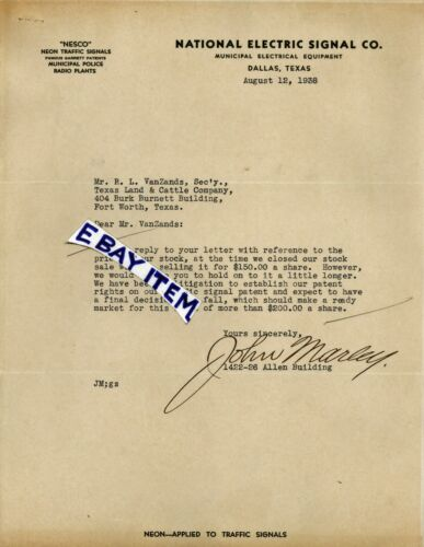 1938 DALLAS TEXAS letterhead NESCO NATIONAL ELECTRIC SIGNAL COMPANY John Marley