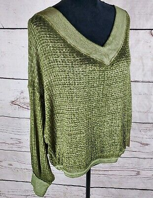 Free People Top Southside Thermal Green Waffle V Neck Long Slv Burnout S M L XS