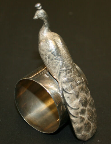 Silver Plated Figural Napkin Ring Proud Peacock Atop Ring Meriden Britannia #151