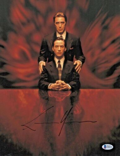 THE DEVILS ADVOCATE KEANU REEVES SIGNED AUTO 11X14 PHOTO AUTHENTIC BECKETT BAS