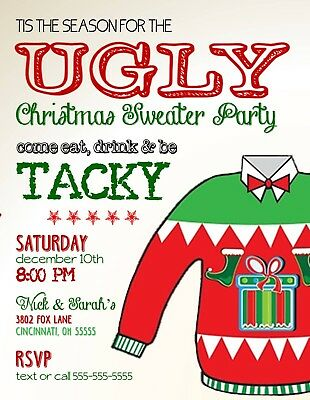 Ugly Christmas Sweater Invitation (Ugly Christmas Sweater Holiday Christmas Party)