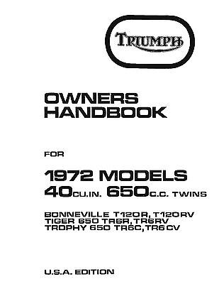 Triumph Owners Manual Book 1972 Trophy TR6C & TR6CV