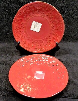 Italian Made Maioliche Jessica Salad Plates X2 Mlj5 Red Embossed Leaves Scrolls