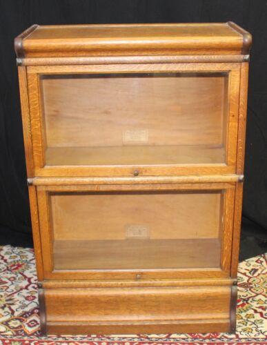 Antique Globe -Wernicke Quarter Sawn Oak Barrister Bookcase Arts & Craft 2 Shelf