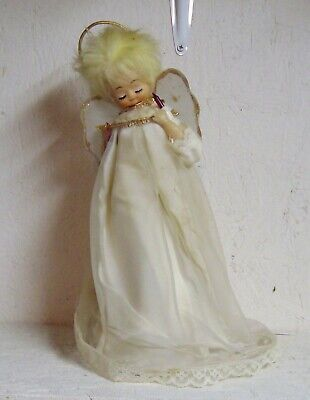 """Vintage LIGHTED ANGEL TREE TOPPER - Electric - Works - 13"""" Tall"""