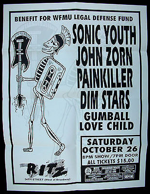 SONIC YOUTH Ritz 1991 CONCERT POSTER John Zorn WFMU Legal Defense Fund BENEFIT