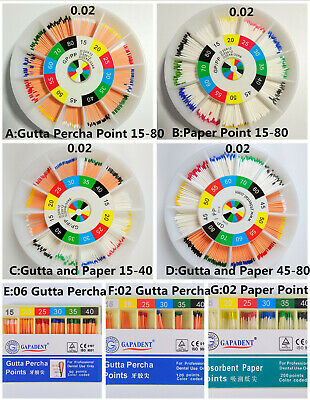Dental Gutta Percha Point Absorbent Paper Points 15-80 Mixed Endodontic Therapy
