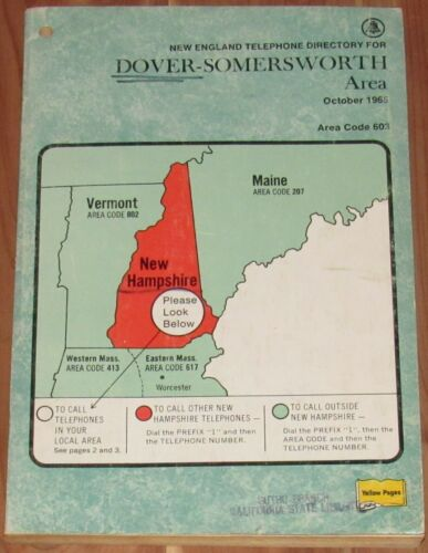 1965 NEW HAMPSHIRE TELEPHONE DIRECTORY, DOVER SOMERSWORTH AREA, ROCHESTER