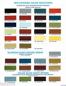 1975 Ford COLOR CHART Brochure: MUSTANG,LTD,TORINO,T-Bird,PINTO,ELITE,RANCHERO,