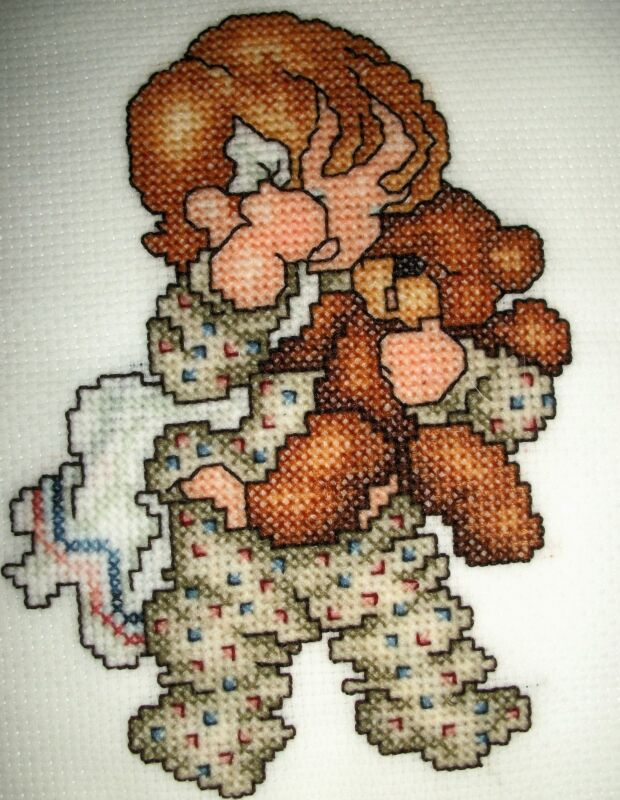 Finished cross stitch piece-baby bedtime #1