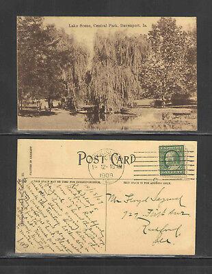 - 1909 LAKE SCENE CENTRAL PARK DAVENPORT IA POSTCARD