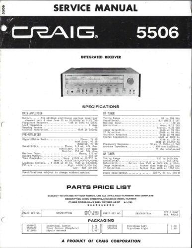 Craig 5506 Integrated Receiver Service Manual - Original, Not Copy