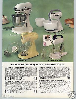 1958 PAPER AD Mixers Stand Kitchenaid Westinghouse Hamilton Beach Iron Casco