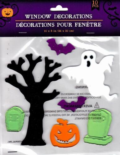 Halloween Gel Window Cling Stickers 10 Count ~  Ghosts Bats Tree Pumpkin