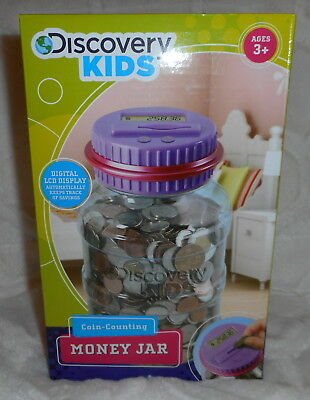 Discovery Kids Coin Counting Money Jar Bank Learning Toy Digital Lcd Purple New