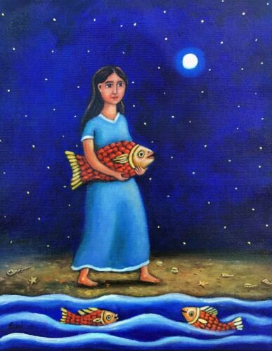 Beautiful painting girl Starry night by the sea fish Mexican artist Esau Andrade