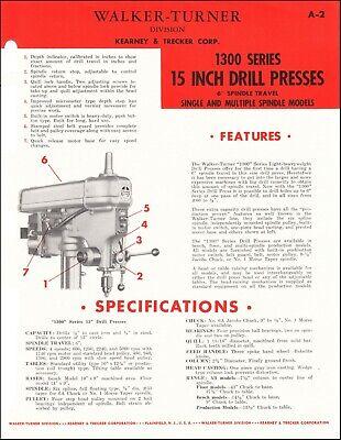 Walker Turner 1300 Series 15 Inch Drill Presses - Product Spec Sheet
