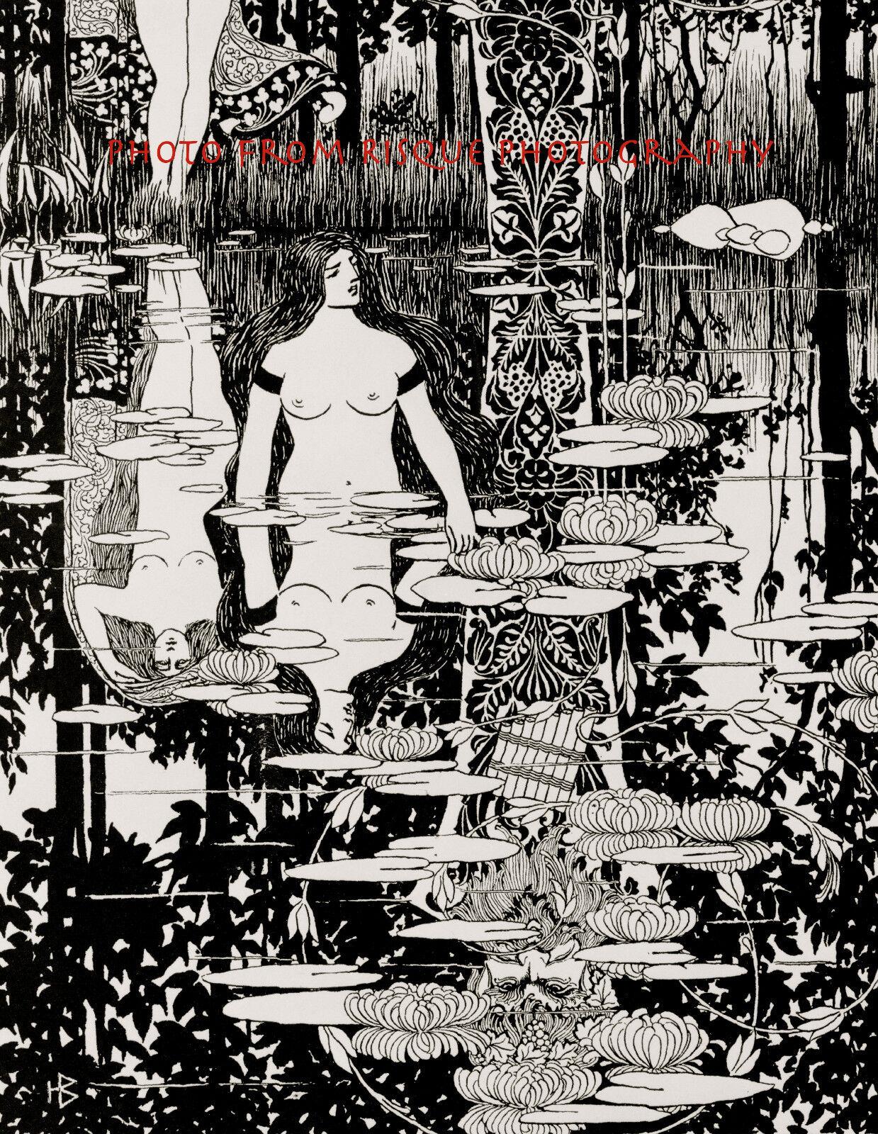 "Art Deco Nude Woman in Pond Naked Female God Pan Myth Art 8.5x11/"" Photo Print"