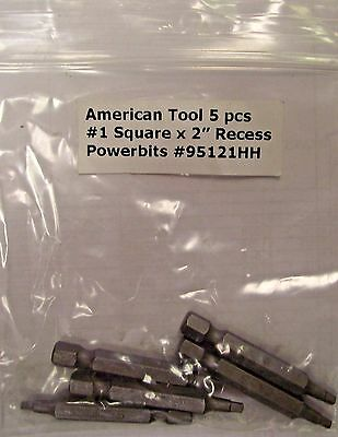 "American Tools #1 Square 2"" Long Screw Power Bit 95121HH 5 Pack"