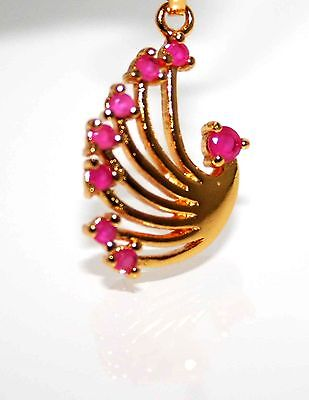 Ladies RUBY Pendant 18KT Gold Plated 7 RUBY STONES BIRD DESIGN Jewelry Sale $75 ()