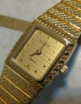 Adjustable Vintage Bucherer Swiss Made Women's Textured Gold Tone Watch