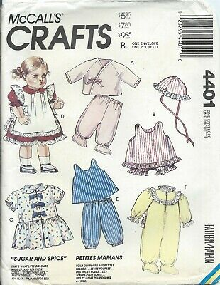 McCalls 4401 Pattern BABY DOLL CLOTHES Sugar & Spice 6 outfits ~ 3 Size OOP (Baby Spice Outfits)