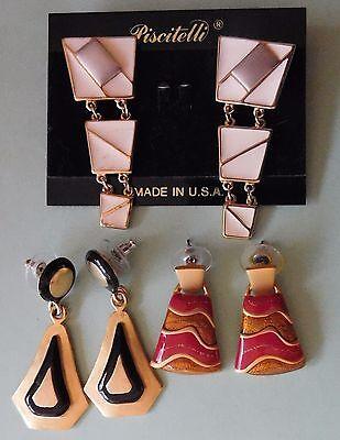 1980's Enamel Dangle Pierced Earrings Lot of 3 Pairs Lot E3
