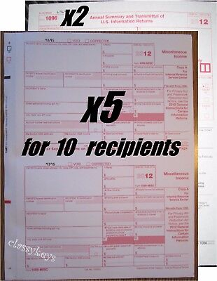 2012 Irs Tax Form 1099 Misc Carbonless    5 Sets For 10 Recipients   2 Form 1096