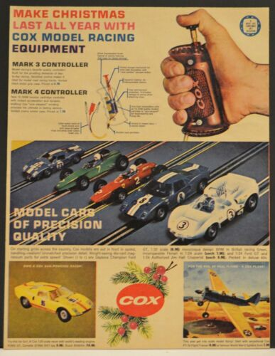 1966 Cox Print Ad Model Racing Cars Race Set Ford GT Controllers Airplanes