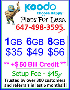 Koodo 1gb 6gb 8gb LTE data plan Canada talk text + $25 bonus
