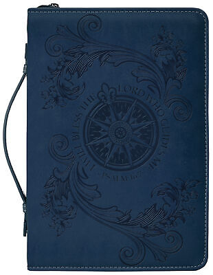Bless The Lord Flying Compass Rose Navy Blue X-Large Faux Leather Bible Cover Blue Simulated Leather Cover