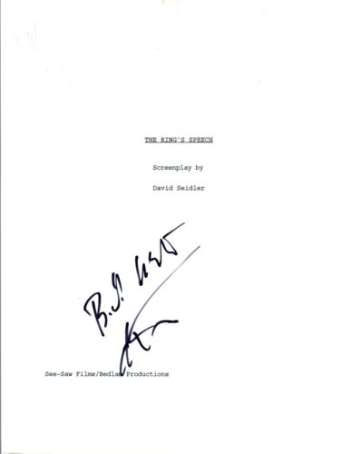 Colin Firth Signed Autographed THE KING'S SPEECH Movie Script COA VD