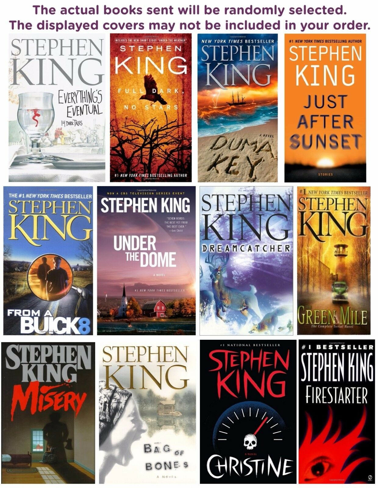 FIVE-PACK BUNDLE/LOT OF STEPHEN KING BOOKS - Paperbacks