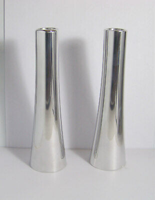 Nambe Studio Modernist Metal Candle Holders #6034 Karim Rashid c. 1994