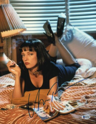 UMA THURMAN SIGNED AUTOGRAPHED PULP FICTION 'MIA' 11X14 PHOTO BAS BECKETT COA 1